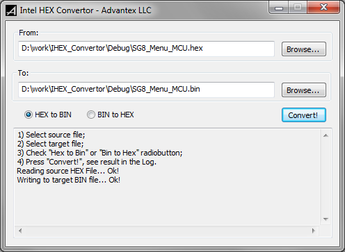 advantex ru - IHC - Intel HEX Converter for Windows
